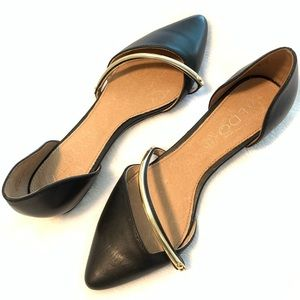 ALDO Black Flats with Gold Accent 6